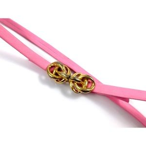 Vintage thin pink leather belt w/ gold bow buckle